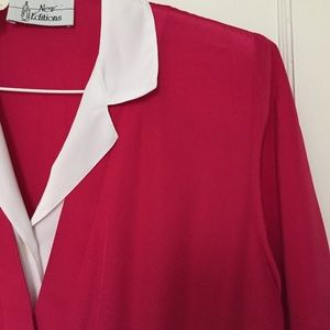 • VINTAGE • Pink And White Collared Top